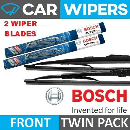 "BOSCH Super Plus 24/"" /& 16/"" Windscreen Wiper Blades With Driver Side Spoiler"