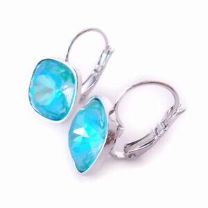 Blue-Laguna-Delite-Crystal-Earrings-w-Cushion-Cut-Swarovski-Prom-Jewelry-Gift