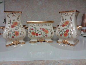 Vintage-Guilded-Floral-Decorative-Vase-Planter-Trio-hand-decorated-Eton-China