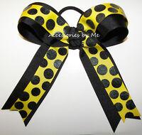 Yellow Black Softball Bow Sparkly Ponytail Baseball Volleyball Cheerleader Cheer