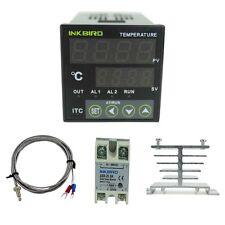 240V Digital PID Temperature Controller Thermostat + Probe + SSR 25DA+Heat Sink