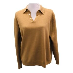 Brooks Brothers Womens Polo Sweater Brown 100% Merino Wool Long Sleeve Sz L