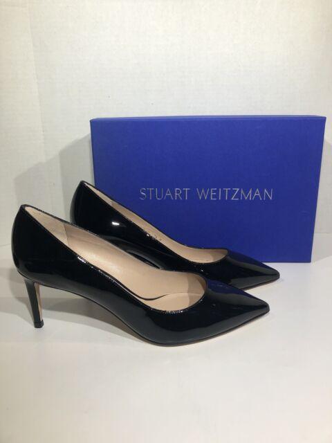 Stuart Weitzman Leigh 70 Women's Sz  7.5 Black Cristal Patent Dress Pumps ZC-382
