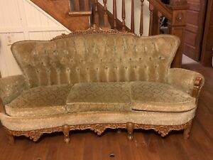 antique-sofa-set-olive-green-hand-carved-wood-3-piece-Located-in-Kansas
