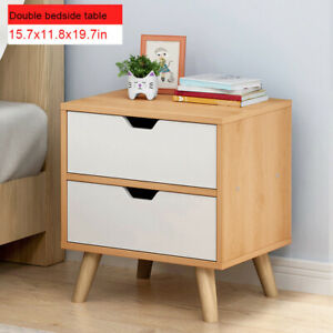 Details About Set Of 2 Bedside Table With Drawer Solid Wood Legs Home Bedroom Nightstand
