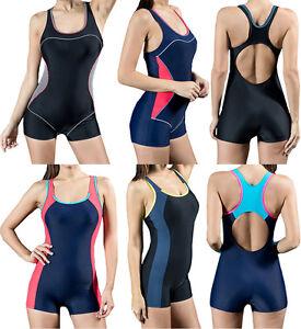 461dae8362e15 Details about Women Color Block One Piece Boyleg Swimsuit Racerback Sports  Bra Swimwear