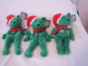 New-w-TAGS-RARE-SET-of-3-1998-SALVINO-039-S-BAMM-BEANO-039-S-Christmas-Bears