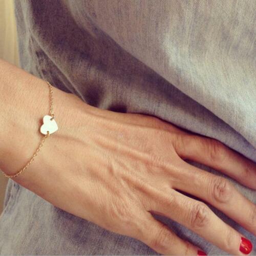 Simple Love Heart Rhinestone Bracelet Chain Women Fashion Jewelry Bangle LC