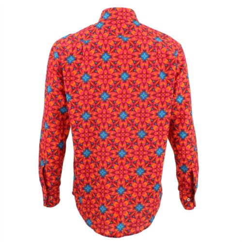 Homme R Bruyant Classique Chemise Coupe Abstrait Rouge faYfrqw