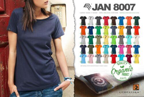 JAN 8007 Damen Bio Baumwolle Basic Girlie T-Shirt Mint Blau COMPANIEER Frauen ..