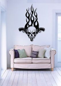 Wall Stickers Vinyl Decal Skull And Guns Fire Modern Tribal Decor Z1717 Ebay