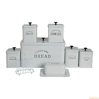 8pc Storage Set Bread Bin//Biscuit Tin//3 Canisters//Utensil Holder//Butter Dish New