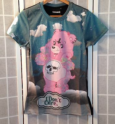 COSMIC GOTHIC/PUNK I DON'T CARE TATTOO CARE BEAR T-SHIRT-WOMEN'S SMALL-NEW/TAGS