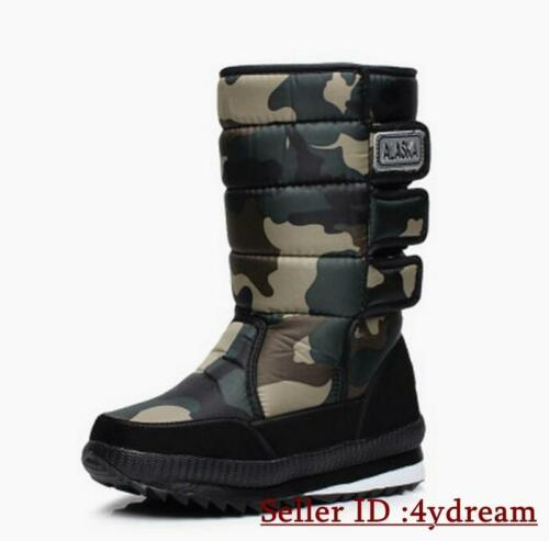 Camo Mens Winter Warm Snow Ankle Boots Quitted Creeper Low HEEL Fashion Shoes