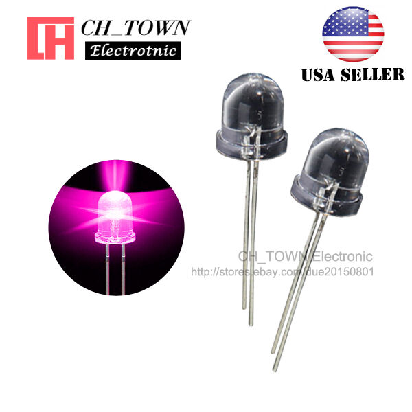 50 x 5mm led diode pink wide angle high brightness wide angle pink