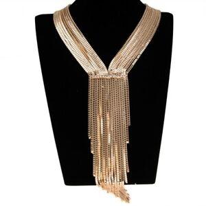Fashion-Gold-Chain-White-Crystal-Choker-Chunky-Statement-Pendant-Bib-Necklace