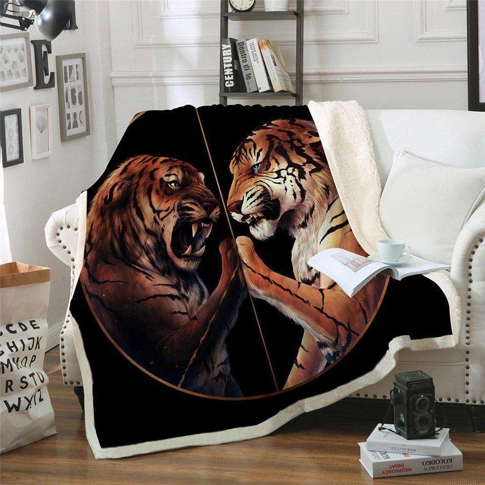 Peace Tiger Tigers JoJoesArt Sherpa Plush Throw Blanket Fleece Bed Sofa Couch
