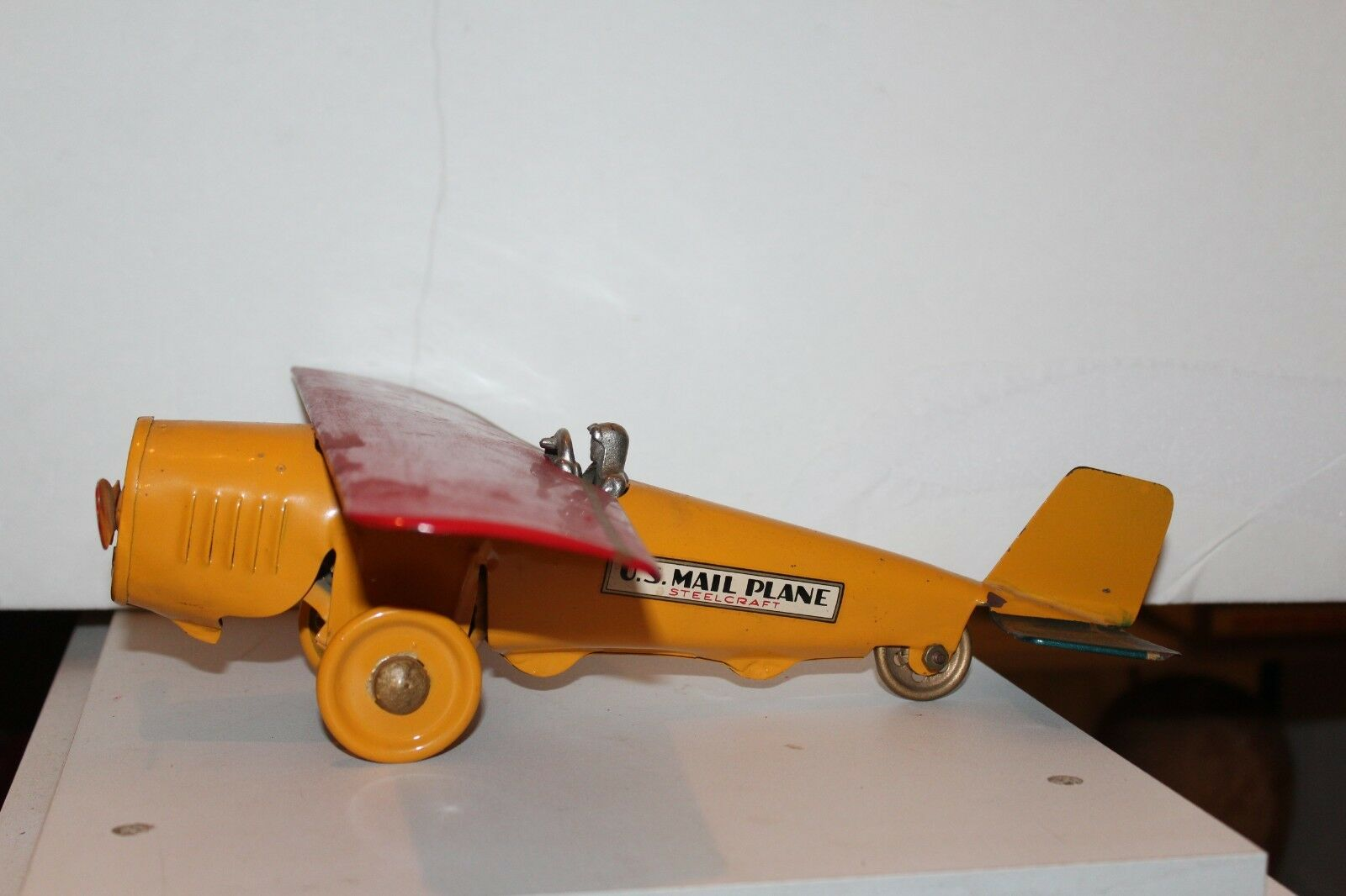VERY NICE VINTAGE 1920'S DAYTON HILL CLIMBER PRESSED STEEL U.S. MAIL AIRPLANE
