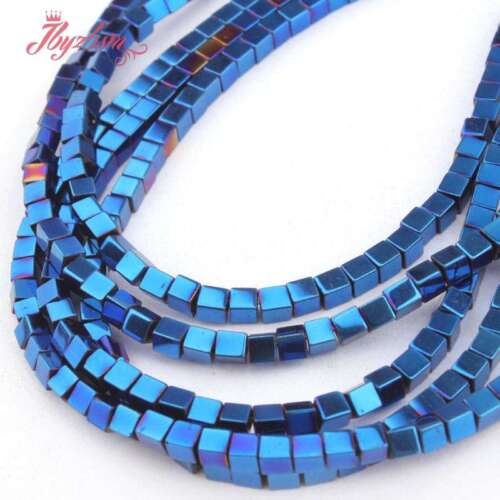 """1mm-10mm Natural Cube Square Blue Hematite Gemstone Beads Spacer Strand 15/"""""""