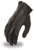 Womens Black Zip Leather Gel Palm Driving Motorcycle Riding Gloves S, M, L