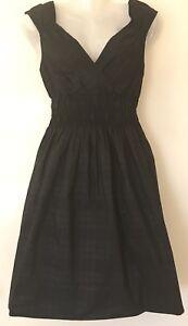 PORTMANS-Dress-size-10-Black-Charcoal-Grey-Elastic-Waist-Checkered-Corporate