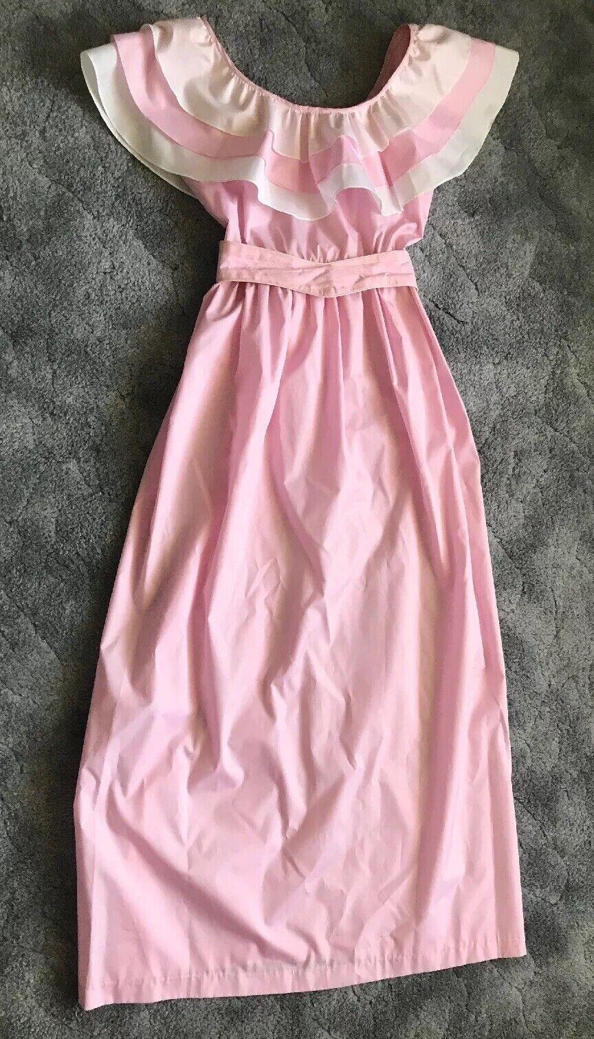 VINTAGE 80's Ruffled Light Taffeta Pink Prom Gown M L Dress