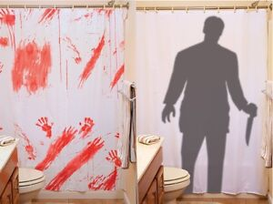 Image Is Loading Creepy Horror BLOODY SHOWER CURTAIN Or STALKER Halloween