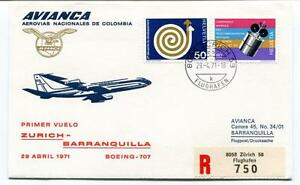 Discret Ffc 1971 Avianca First Flight Boeing 707 Zurich Barranquilla Registered Helvetia