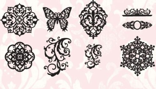 Lot Set 9 Tattered Angels Glimmer Screens Fanciful Stencils Butterfly Filigree