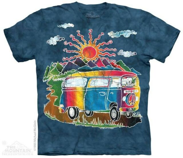 THE MOUNTAIN BATIK TOUR BUS HIPPIE VW COLORFUL CAMPING VAN SUN T TEE SHIRT S-5XL