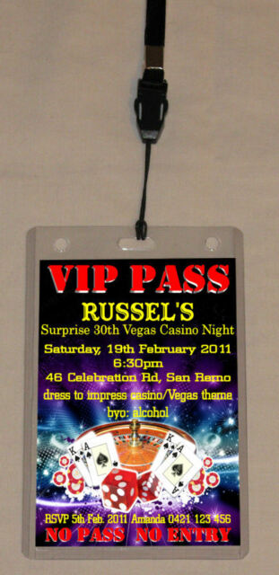 30th 40th 50th Birthday VIP Pass Invitation Lanyard For Sale Online