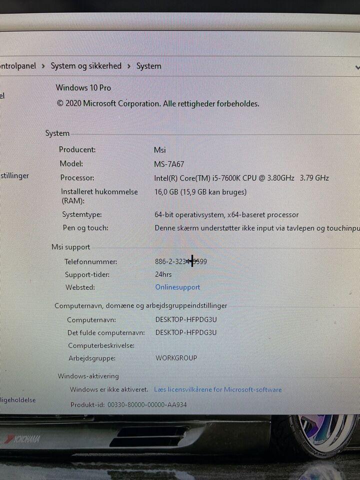 Andet mærke, I5-7600k , 4.2 Ghz