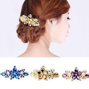Fashion-Girls-Women-Crystal-Rhinestone-Flower-Barrette-Hair-Clip-Clamp-Hairpin
