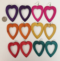 Open Heart Dangling Natural Wood Earrings W Stained Color, Choose Color