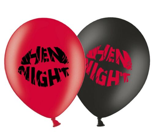 """Hen Night Kiss 12/"""" Printed Latex Red /& Black Assorted Balloons Pack of 5"""