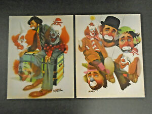 VINTAGE-CHUCK-OBERSTEIN-CLOWN-PRINT-LOT-OF-2