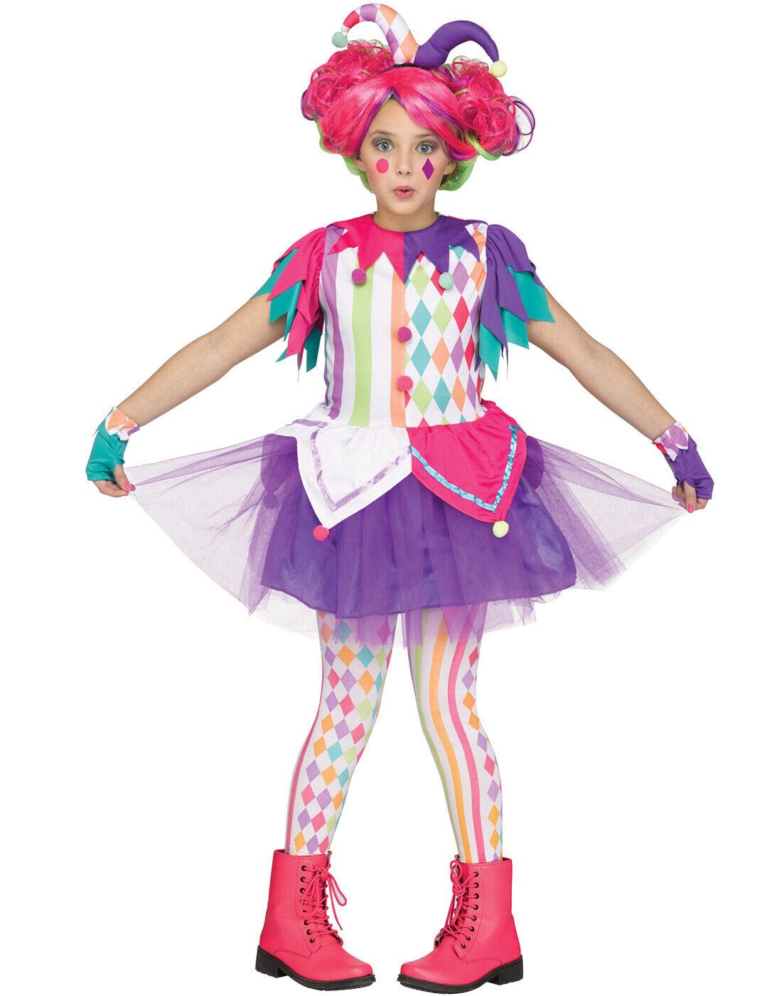 CA877 Sadistic Clown Jester Harlequin Circus Halloween Evil Pennywise IT Costume