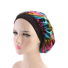 Satin Silk Bonnet Sleep Cap Black Soft Extra Large Wide Band