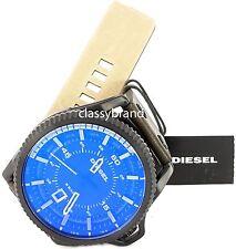 Diesel Men's DZ1718 Rollcage Watch with Black PVD Case 46mm Leather Strap NEW