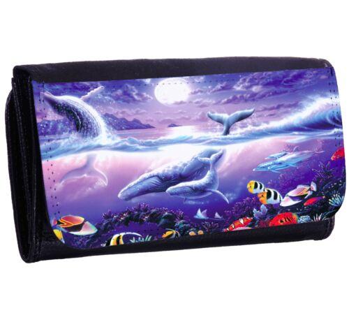 Whales Tail Bi-fold Zipper Bill /& Card Holder Long Wallet