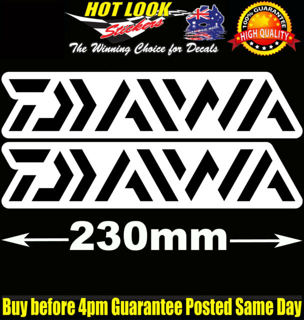 2 Diawa Fishing Boat Reel Rod Sticker Vinyl Decal Set for dinghy tackle Box