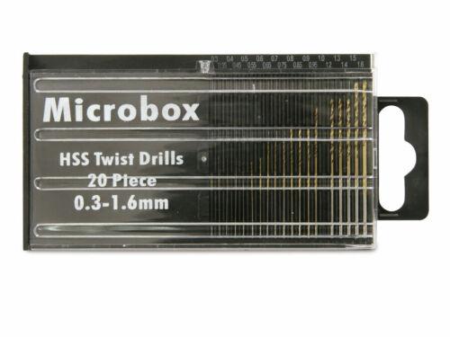0,3...1,6 mm 20 Bohrer Miniaturbohrer-Set