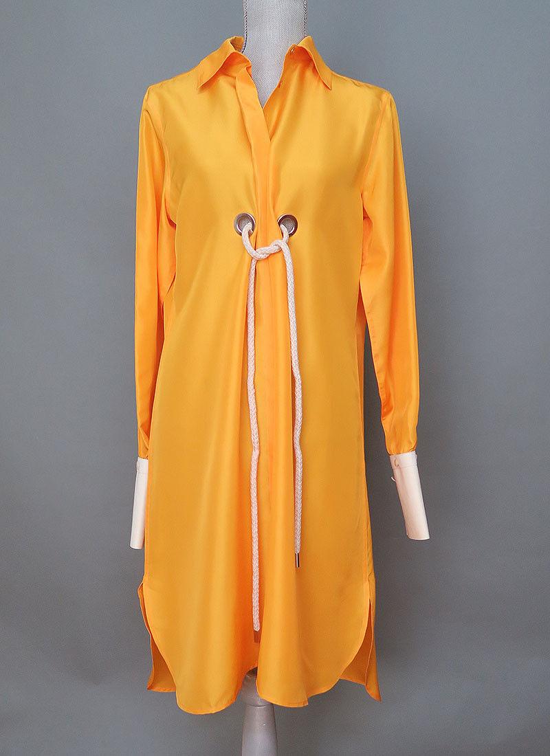 Max Mara Yellow Silk Dress High Low Low Low Ham Size 8 Size M MSRP  945.00  64852d