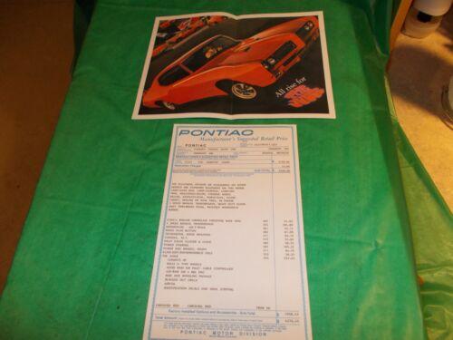 1969 PONTIAC GTO JUDGE WINDOW STICKER AND BROCHURE!! OLD BUT NOT ORIGINAL!!