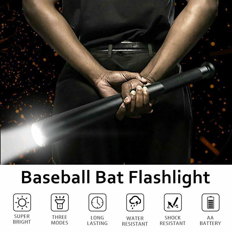 90000LM LED Flashlight Baseball Bat Tactical Super Bright Torch Self Defence