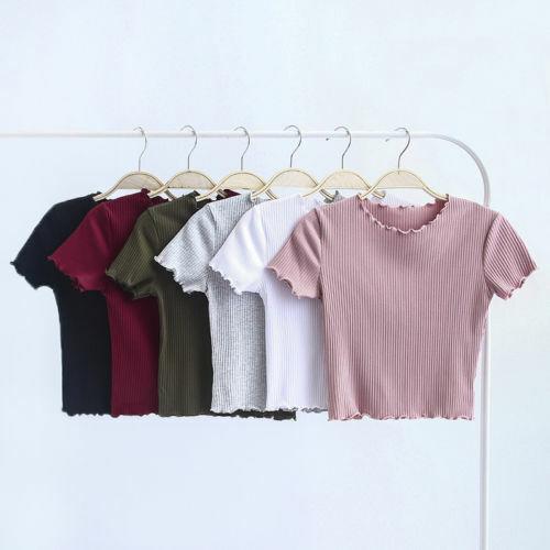 Vouge Women/'s Clothing Women/'s Top Casual Slim Solid Short Sleeve Bottom Shirt