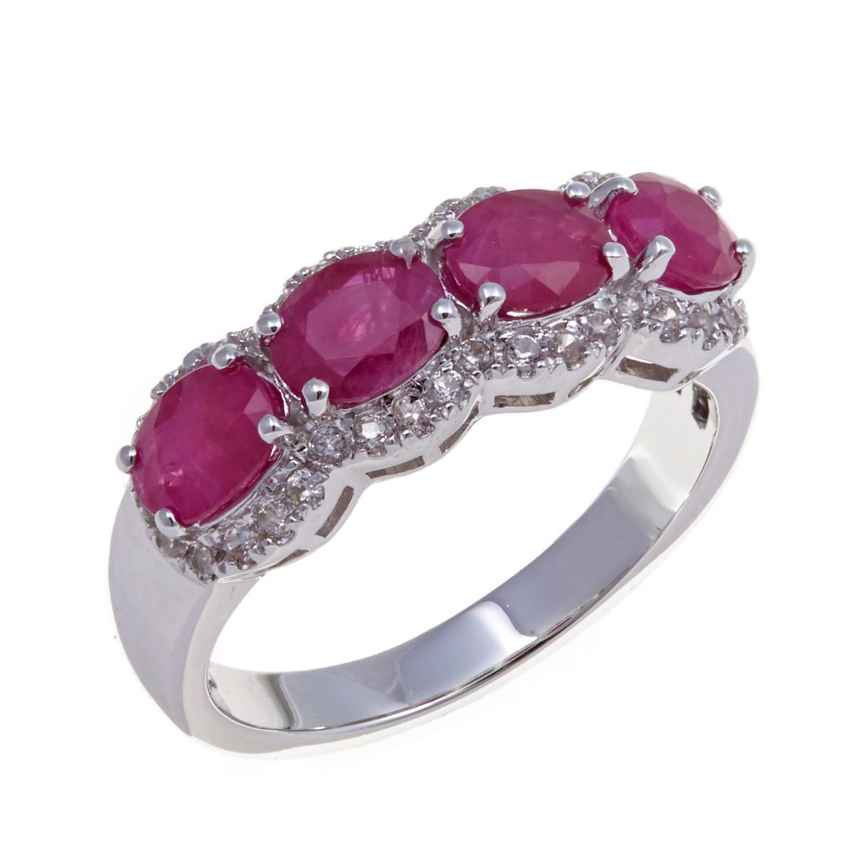 COLLEEN LOPEZ 1.77CT BURMESE RUBY & WHITE ZIRCON STERLING RING SIZE 8 HSN  299