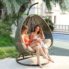 Outdoor 2 Person Wicker Swing Chair U0026Free Cover Rattan Porch Egg Chair  Furniture