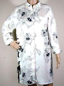 6b29c1d84f855 Zara Basic Button Down Top Tunic Sz XS White Black Floral Oversized ...