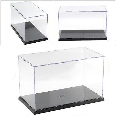 Acrylic Plastic Display Case Perspex Box Dustproof Transparent Black Base 4 Size